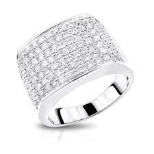 engagement ring for men 2 carat mens diamond ring in 14k gold large diamond band by luxurman