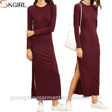 casual jersey plus size long sleeve high split ribbed maxi