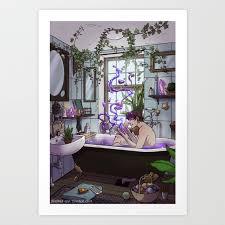 modern male witch bathroom art print by brennaivy society6