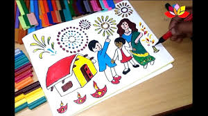 how to draw diwali coloring pages for kids youtube