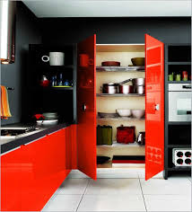 hovering small red glossy apartment kitchen ideas with pantry also