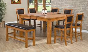 dining room oak wood expandable round dining table with parson