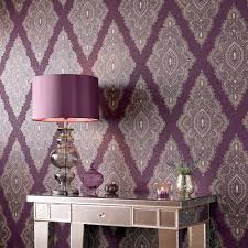 Purple Damask Wallpaper by Graham U0026 Brown Purple Damson Gold Jewel Wallpaper House Of Fraser