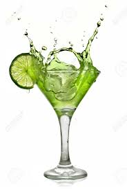 cocktail splash green alcohol cocktail with splash and green lime isolated on