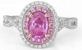 pink sapphires rings images Pink sapphire ring with pink sapphire and diamond halos in white jpg