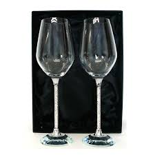 diamante stem wine glasses crystal amaze