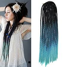 teal hair extensions 20 black to teal two colors soft dread lock crochet