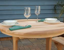 Cedar Table Top by Red Cedar Round Trestle Picnic Table Set