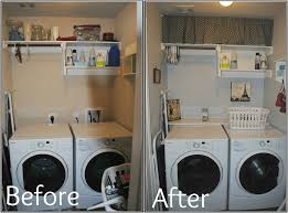 Storage Ideas For Small Laundry Rooms by Very Small Laundry Room Before And After Makeover With White Front