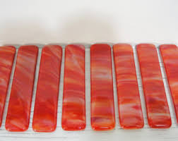 Red Glass Cabinet Knobs Fused Glass Pulls Etsy