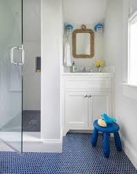 blue tiles bathroom ideas hexagon blue floor tile with white subway tile modern fresh