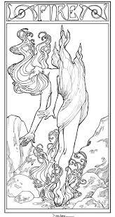 art nouveau style fire woman