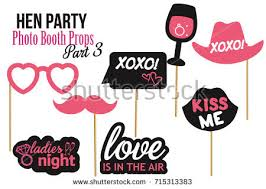 party photo booth set hen party photobooth props vector stock vector 715313383