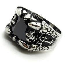gothic rings men images Cool men 39 s drogon claw fleur de lis ring gothic silver mens jpg