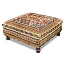 ottoman with patterned fabric patterned fabric ottoman coffee table with square shape decofurnish