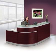 Reception Desk Furniture Esquire Glass Top Reception Desk 95w X 64d 76239 1 And More