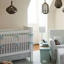 Blue And Yellow Crib Bedding The Lantern Lighting With The Mist And Gray Chevron Crib
