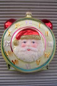 vintage germany blown glass tree santa clock ornament