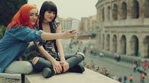 Take A Selfie Tourist Women Take A Selfie In Rome By The Coliseum Stock Footage
