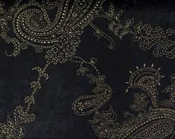 Black And Gold Curtain Fabric Paisley Black Gold Velvet Dew Drops 150 Cm Width Fabric By The