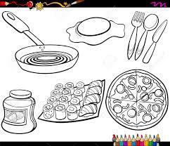 objets de cuisine coloring book illustration de bande dessinée de cuisine et
