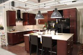 l shaped dark brown wooden kitchen cabinets with rectangle kitchen