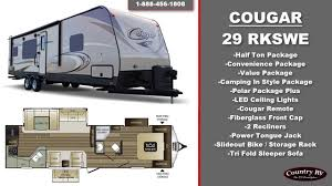 Travel Trailers With King Bed Slide Out 2017 Cougar 29 Rkswe Travel Trailer Youtube