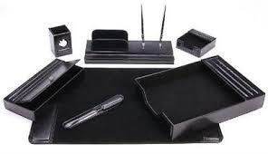 Desk Set Organizer Leather Executive Desk Set Home Office Organizer 7 Black Pen