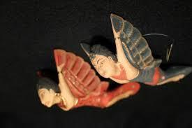 bali flying dewi sri goddess ornament guardian carved wood set 2