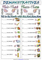 demonstratives esl printable worksheets and exercises