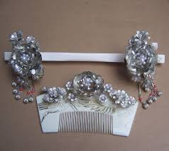 japanese hair ornaments vintage japanese hair comb hairpin geisha set silver tone faux