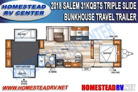 triple bunk travel trailer floor plans new 2018 forest river salem 31kqbts travel trailer stock 1053 for