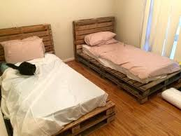 Bed Frame Made From Pallets Pallet Bed Frame Diy Glassnyc Co