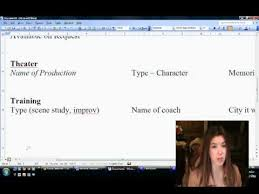 Casting Resume How To Make Your Acting Resume Youtube