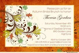 bridal shower brunch invite foliage bridal brunch invitation leaves orange