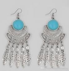 big ear rings 2018 turquoise fashion earrings silver earrings big earrings
