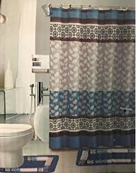 Bathroom Sets Shower Curtain Rugs 18 Bath Rug Set Coffee Brown Teal Blue Print