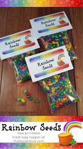 rainbow seeds treat free printable bag topper that bald