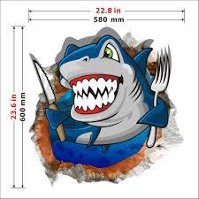 3d baby kids room cartoon shark ocean sea wall decals removable