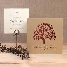tree die cut laser cut wedding invitations ribbon
