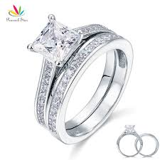 promise engagement rings images Peacock star 1 5 ct princess cut solid 925 sterling silver 2 pcs jpg