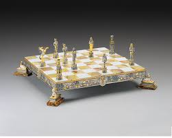 historical artistic bronze gold and silver themed chess sets