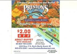 Seafood Buffets In Myrtle Beach Sc by Coupons Deals Specials Save Money Prestons Restaurant North
