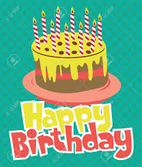 happy birthday cake card design vector illustration royalty free