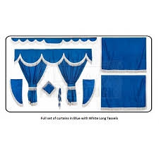 logo volvo trucks blue curtains with long tassels