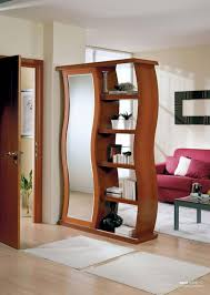 furniture captivating bookshelf room divider with red sofa and