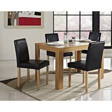 oak wood dining table modern dining table and 4 chairs with faux leather oak furniture