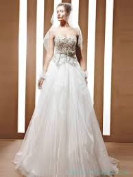 a line tulle spaghetti corset wedding dress with crystal top ball