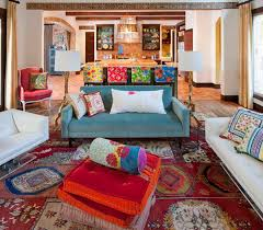 rustic bohemian living room with colorful rug and tufted floor