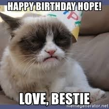 Grumpy Cat Meme Love - happy birthday hope love bestie birthday grumpy cat meme